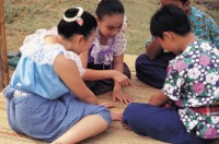 "Thai child play - เล่นจ้ำจี้ ""play fingering and pointing"""