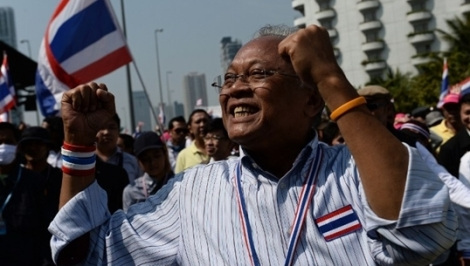 Suthep Thaugsuban, leader the great mass of people  leading many 'good people'  in the People's Democratic Reform Committee or PDRC movement calling for the topple of the corrupt regime of elected politicians and 'reform before election' that led to the 'military intervention' in May 2015, photo credit: Thai PBS