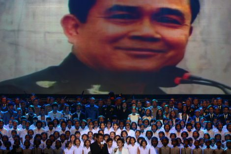 An image of the military junta leader Gen. Prayuth Chan-ocha is displayed on a giant screen during the army-organised concert at Siam Paragon shopping mall on June 26, 2014. (Pic: Khaosod/Facebook)